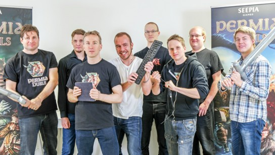 Seepia Games' crew has released three games on seven different platforms, with a combined total of 2.5 million downloads. CEO Jani Tietäväinen is on the far left.