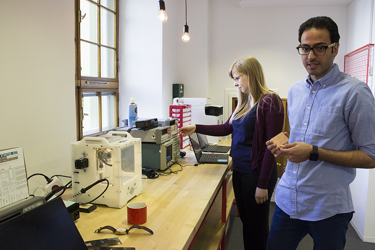 Two Flux employees guide the entrepreneurs using the space. Mohammad Bakharzy provides technical support and Annie Talvasto, who knows the Finnish startup scene inside and out, provides support on the business side of things.