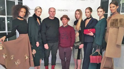 Vejits was the only Finnish label invited by Oxford Fashion Studio to display its range at New York Fashion Week. Olli Turunen is pictured third from left.