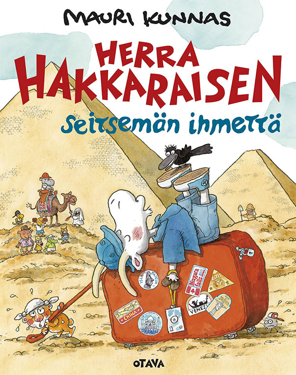 In one of the books, Mr. Clutterbuck (Herra Hakkarainen in Finnish) takes in many wonders on a round-the-world trip that he has won.