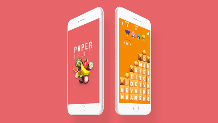 The word-based puzzle Paper Fruits combines elements from games like Candy Crush and Tetris.