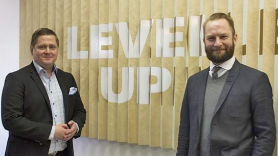 """Jakamo's co-founders Anssi Uitto (left) and Jarl Matti Anttila describe their service developed for the information sharing between companies as """"the Facebook of the manufacturing companies."""""""