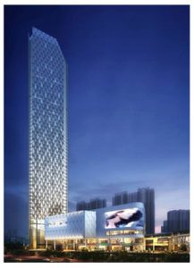 The development includes a 248-metre office and hotel tower and a shopping mall.