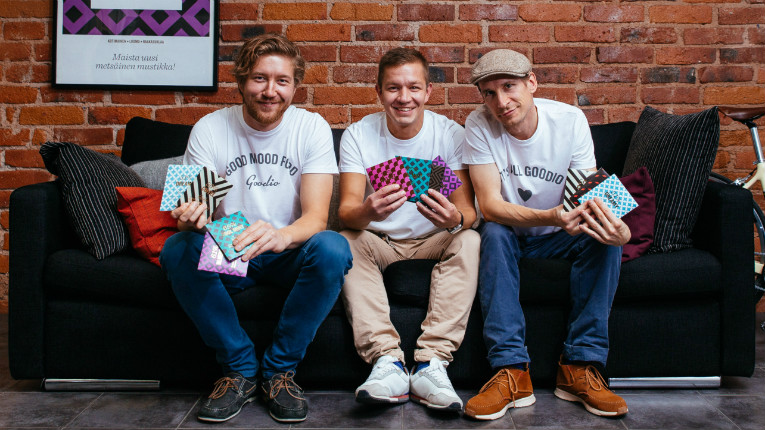 Goodio's raw organic chocolates have a loyal fanbase, are sold by almost 400 retailers in Finland and international demand is growing. In the picture business partners Sampsa Siekkinen, Jonni Sinkkonen and Jukka Peltola.