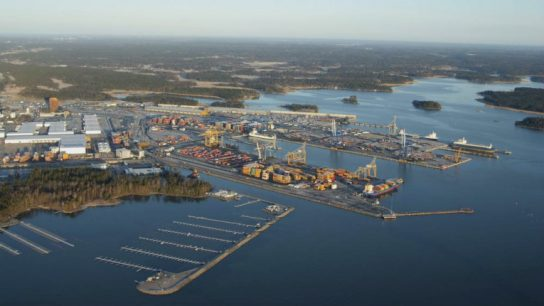 Vuosaari Harbour in Helsinki. Finland's logistics competence was placed 16th out of 160 countries.