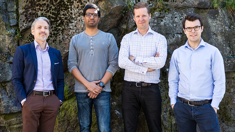 Evervest will launch Finland's first fully automated wealth management service, also known as a robo advisor. (In the picture from left to right Timo Tähtinen, Deepak Natarajan, Jussi Kallasvuo, Antti Törmänen.)