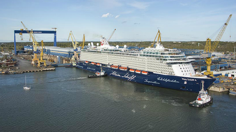 The 293-metre long Mein Schiff 4 cruise ship under construction at the Meyer Turku shipyard in 2014.