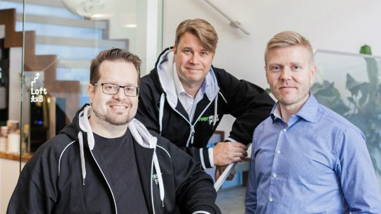 Everywear Games focuses on wearable games, designed for smartwatches. Pictured (left to right) is Jussi Ratilainen, Aki Järvilehto and Mika Tammenkoski.