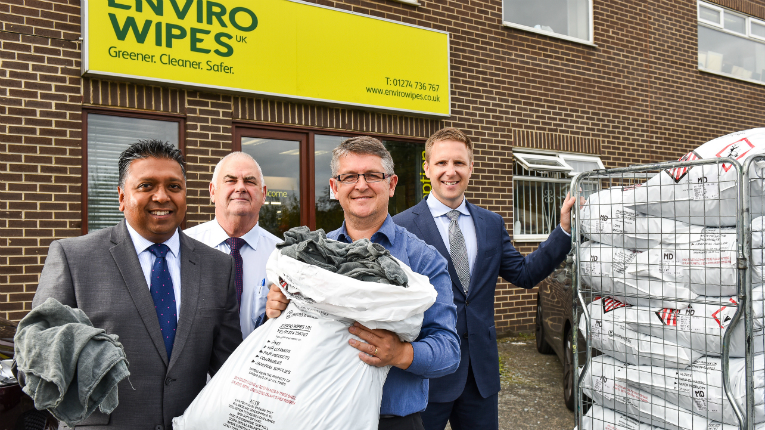 Soresh Meeda, managing director, Lindström UK (on the left), Phil Walker and George Parket from Enviro Wipes and Santtu Jokinen (SVP, Lindström Western & Central Europe) have joined forces.