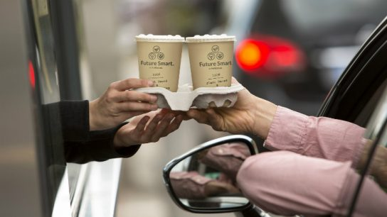 The cup suits both hot and cold beverages, ice cream and takeout food.