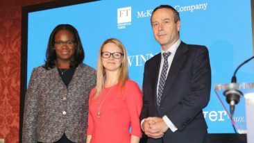 Nora Rosendahl (middle) together with McKinsey's Vivian Hunt (left) and FT editor Lionel Barber.