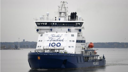 Polaris begins operations in 2017 when Finland celebrates its centenary as an independent nation. The icebreaker's fore bulkhead has been adorned with the 'Finland 100' logo to honour the occasion.