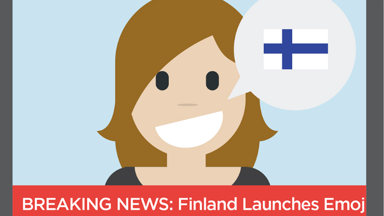 """One of the emojis is """"Suomi mainittu"""", which means """"Finland is mentioned"""" – the feeling experienced when someone mentions Finland abroad."""