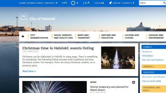 Helsinki was particularly successful in the categories of citizen and social engagement, privacy and security and usability.