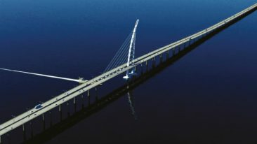 Spanning 36 kilometres, the Sheikh Jaber al-Ahmad Al-Sabah bridge causeway project is one of the largest infrastructure schemes in the Gulf Coast Countries region.