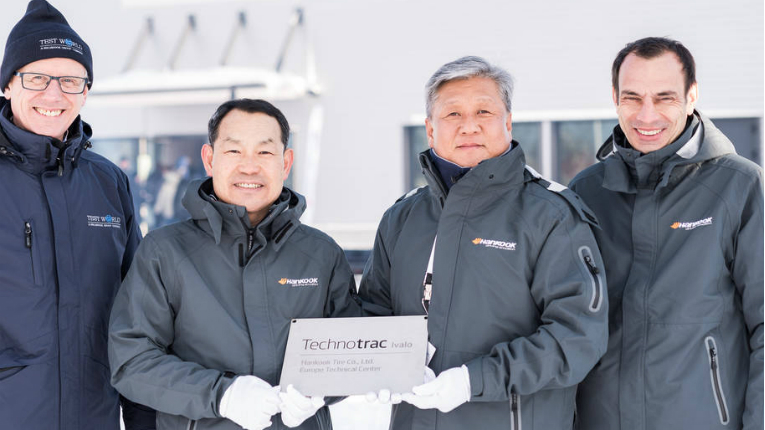 (l to r) Alex Burns (CEO Millbrook Group), Ho-Youl Pae (head of Europe, Hankook Tire Europe), Hyung Nam Kim (head of global r&d and purchasing, Hankook Tire) and Klaus Krause (head of ETC, Hankook Tire).