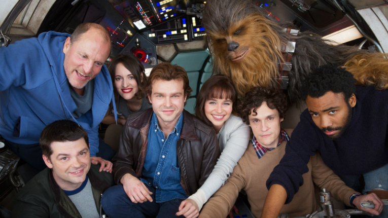 Joonas Suotamo (at the back, in full Chewbacca costume) joins a cast which includes the likes of Woody Harrelson and Emilia Clarke.