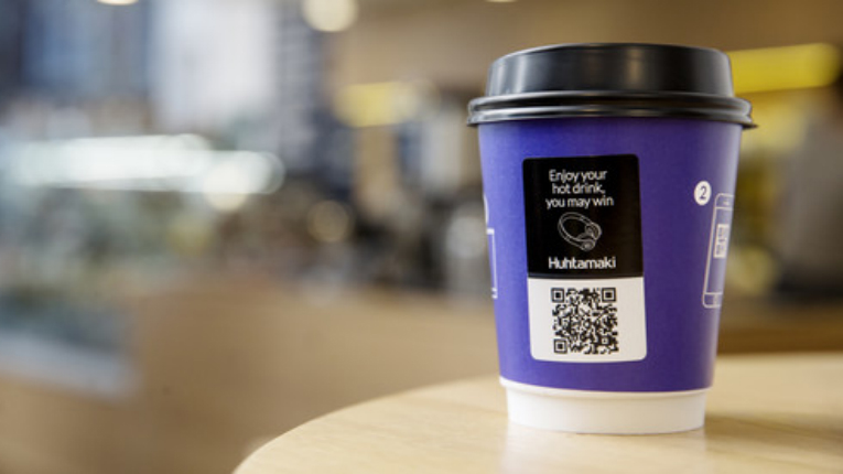By scanning the QR code on Huhtamäki's Adtone smart cup, consumers gain access to associated digital content.