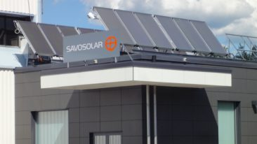 Solar collectors on the Savo-Solar office roof cool down the building.