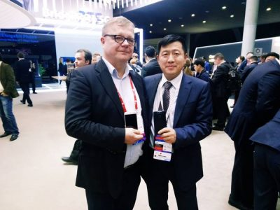 Jacky Zhang, senior vice president of ZTE Corporation and CEO of EMEA and APAC for ZTE Mobile Devices and Jyrki Hallikainen, founder and chairman of the board of UROS Group at the launch of the ZTE Blade V8 Lite embedded with Goodspeed Roaming at MWC2017.
