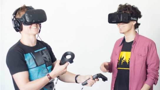 Leonidas believes virtual reality and augmented reality are a huge opportunity for Finnish expertise in education, engineering and mobile technologies. Pictured are employees Olli Jaakkola (left) and Cihan Bebek.