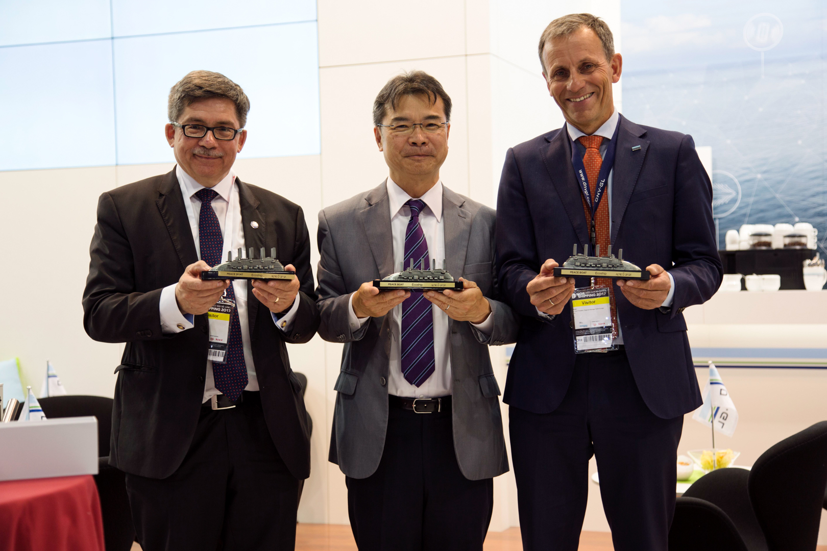 Arctech CEO Esko Mustamäki, Peace Boat director and founder Yoshioka Tatsuya and SVP, regional manager North Europe from Classification Society DNV GL, Jon Rysst.