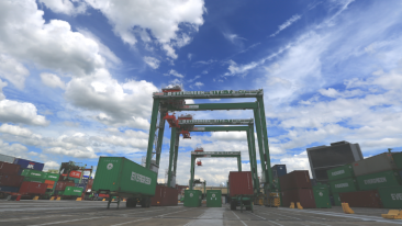 The five new Kalmar RTGs join a fleet of six Kalmar empty container handlers in operationa at Evergreen International Storage & Transport Corporation.