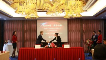 The signing ceremony with Doranova CEO, Antti Myllärinen, and director of Corporate Development Department of Yuntao Group, Xue Ping.