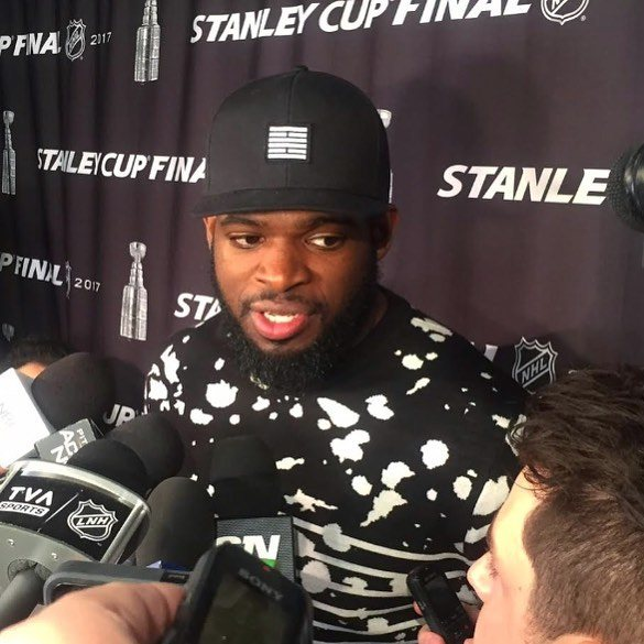 P.K. Subban from Nashville Predators on a Stanley Cup press day. Yes, it's Billebeino.