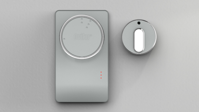 Oviku's smart lock can be used with existing locks and keys, and replaces the need for additional locks.