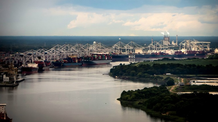 The Port of Savannah in Georgia, USA, where Konecranes will deliver 10 new STS cranes by 2020. The port is undergoing rapid growth.