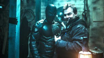 Director Jesse Haaja (right) introduces Finnish superhero Rendel.