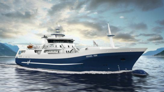 The new salmon processing and transportation vessel for Hav Line AS, Norway, is the world's first vessel of its kind with a hybrid/battery solution.