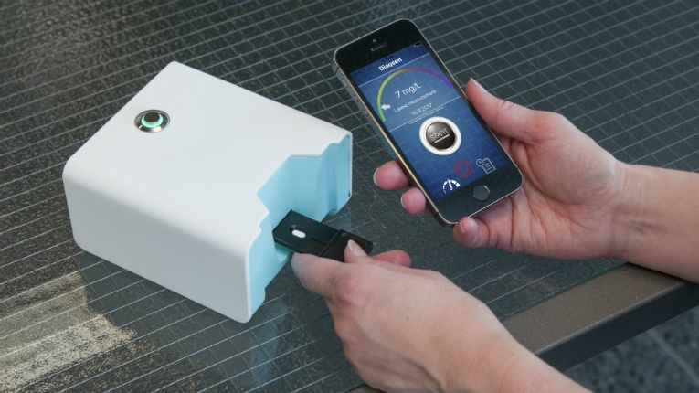 The test takes around 20 minutes to complete: from taking a fingertip blood sample to receiving the result on a smart phone application.