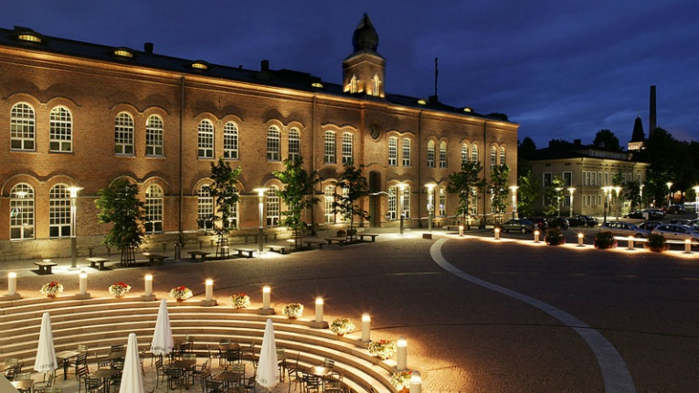 """Heritage environment and beautiful buildings are elegant part of the dark time city picture,"" says Roope Siiroinen about Tampere's LUCI awarded Frenckell Square."