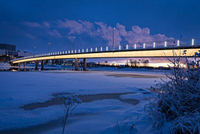Less is more. Pikisaari Bridge represents Nordic design with its simple beauty. This year it won the Lighting Design Award.