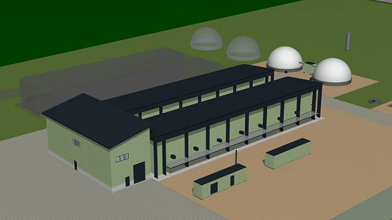 The biogas plant will be based on the modern dry anaerobic digestion process.