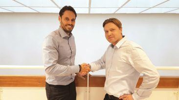 Done deal. Instalco's head of business development Robin Boheman (left) with Telefuusio's founder Ruslan Vassiljev.
