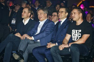 (left to right) Prince William, Sauli Niinistö, Prince Daniel and Supercell's Ilkka Paananen listen to Al Gore.