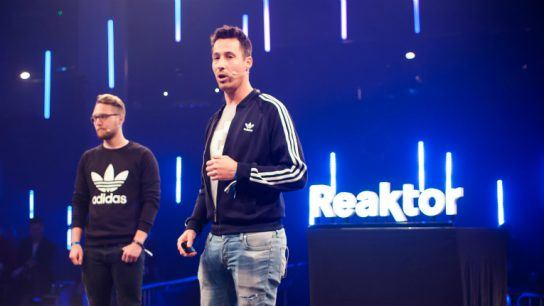 Reaktor's Christoph Kieslich and Thomas Gieling from adidas got on stage at a private event at Slush.