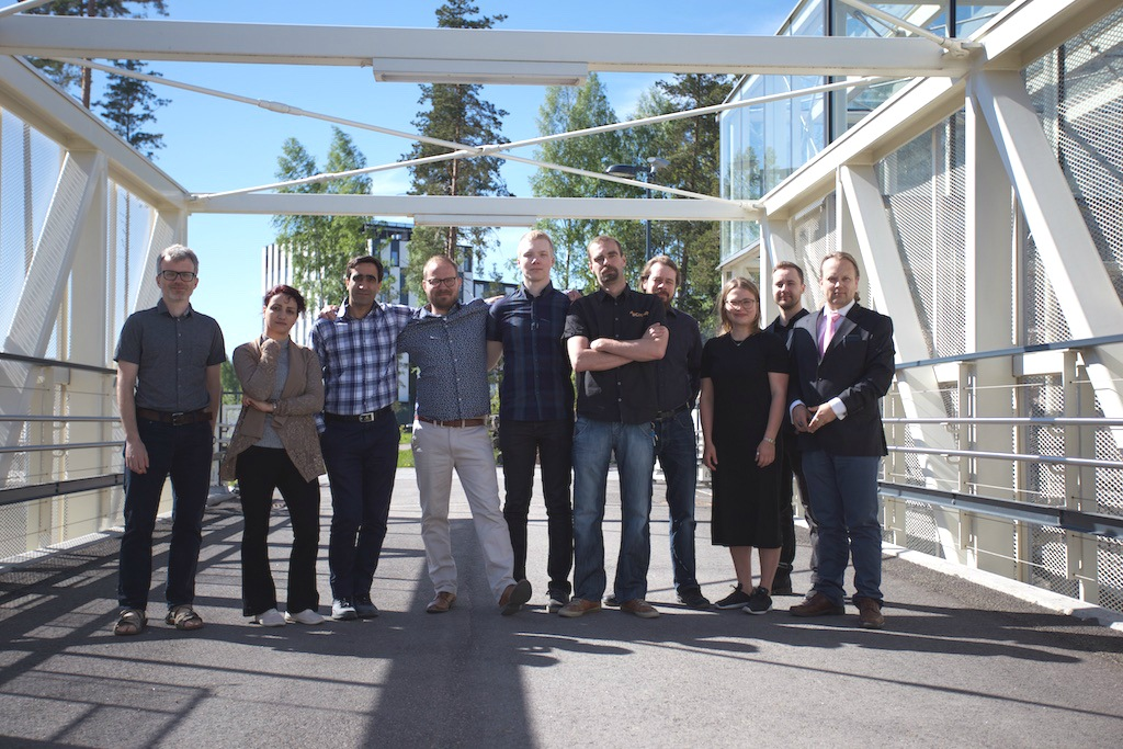 """""""At the moment it is very easy to misuse and manipulate photos and videos. But we can analyse them based on data from other content taken in the same place at the same time and verify the content,"""" says Janne Neuvonen (fourth from left)."""