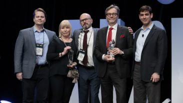 The awards were picked up by Innofactor's Hannu Laesvuori and Päivi Havisalo, and HUS's Visa Honkanen and Markku Mäkijärvi. Far right is Chris Sakalosky representing Microsoft.