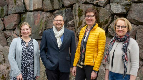 Aalto and VTT are joining forces for new biomaterial research. From left: VTT's Tiina Nakari-Setälä, professor Orlando Rojas from Aalto University, Tuija Pulkkinen from Aalto University, and VTT research professor Kristiina Kruus.