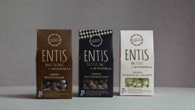 The Entis family of cricket chocolate includes milk chocolate, salmiakki chocolate and white chocolate.