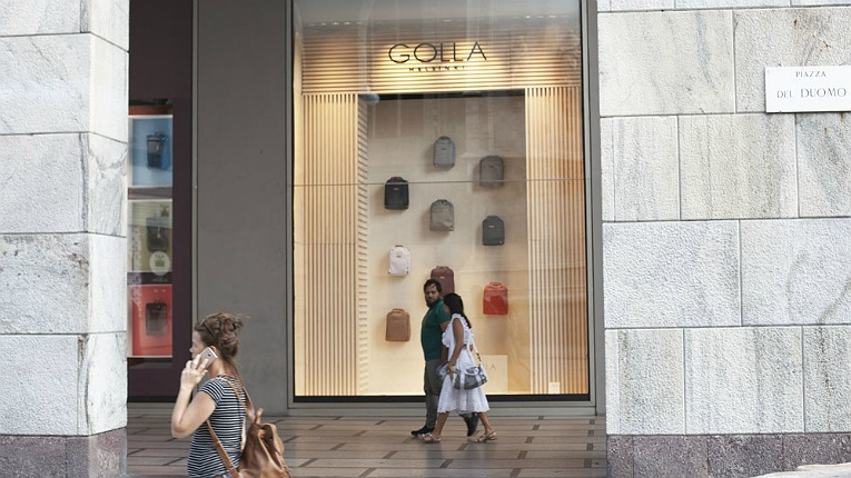 In the bag. La Rinascente in Milan is the exclusive Golla retailer in Italy.