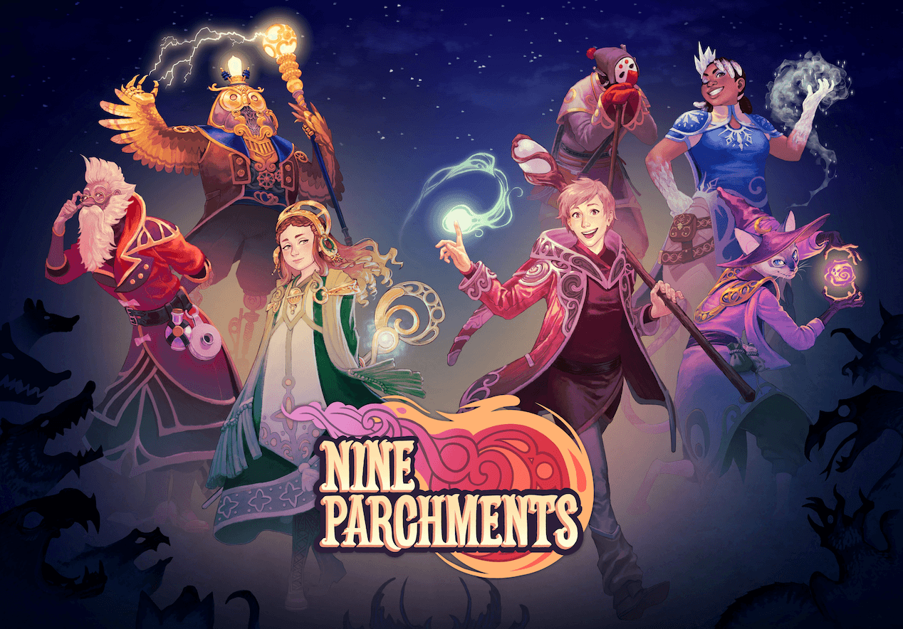 "Released in late 2017, Nine Parchments is described as ""co-operative blast'em up game of magic mayhem""."