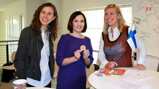 From left: Joanna Bersin from Sunburst Digital, Sanni Grahn-Laasonen, Finland's Minister of Education and Mervi Pänkäläinen, founder and CEO of Mightifier.