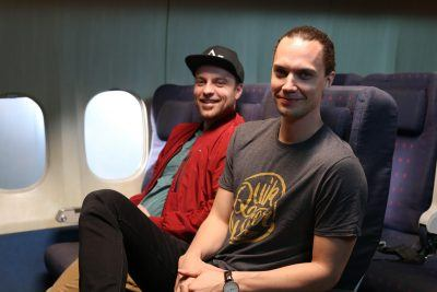 Niklas Kuusela (right, pictured with co-founder Mikko Nisula) thinks the product beats traditional travel pillows on a lot of levels.