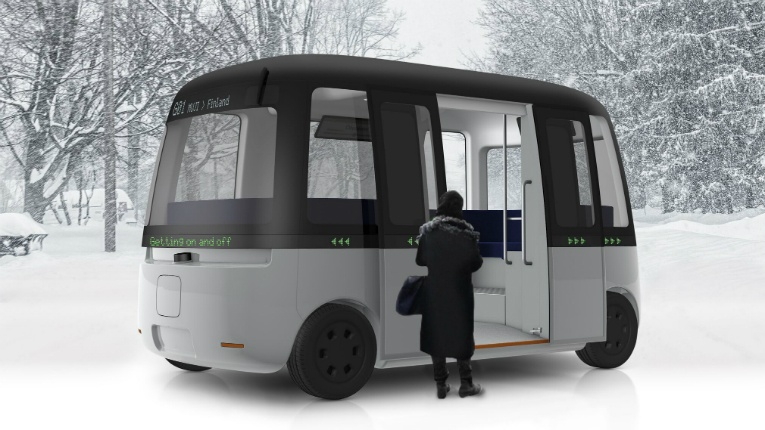 The autonomous Gacha shuttle bus was developed with slippery roads in mind, combined with MUJI's philosophy of offering a pleasant life for its users.