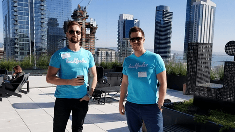 Jaakko Paalanen (left) and CEO Pekka Koskinen. The collaboration will give Leadfeeder's B2B customers access to LinkedIn's over 590 million users and find potential customers even faster.